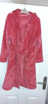 Girls Pink Fleece Hooded Dressing Gown Age 11-12years