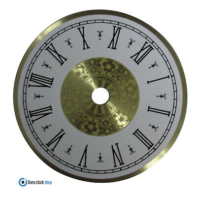 New Round 80mm Metal Clock Dial Face Black Roman Numerals Gold & White Face