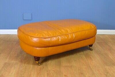 Antique Style Victorian Large Tan Leather Ottoman Footstool on Brass Castors