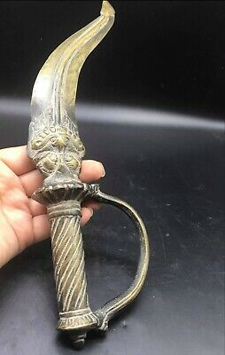 Collectible!! Orginal Antique Old Mughal Art Bronze Dagger Ritual Dragon Blade