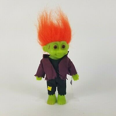 """Vintage Halloween Frankenstein Troll Doll 7"""" With Tag Russ Trick or Troll 90s"""