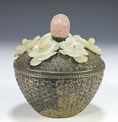Unusual Antique Chinese Silver Covered Box with Applied Jade Flowers
