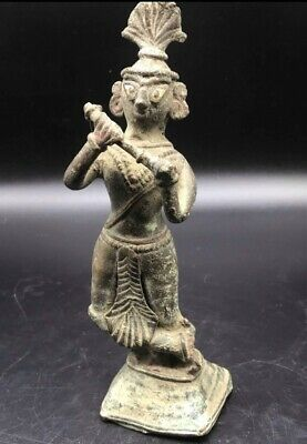 Extraordinary Orignal Very Old Late Hindo Shahi Period Bronze Lady Figure Statue