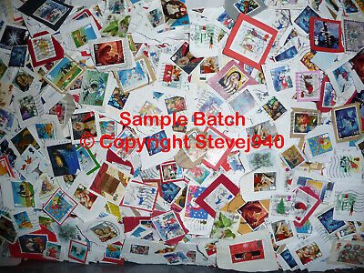 1kg 1000g Approx. GB UK Christmas Used Stamps 1971-2019, Kiloware From Charities