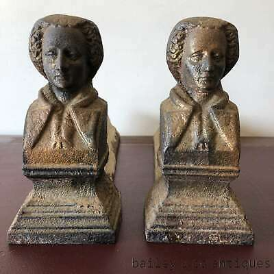 Antique French Pair of Fireplace Chenets Andirons Fire Dogs Iron - TM139e