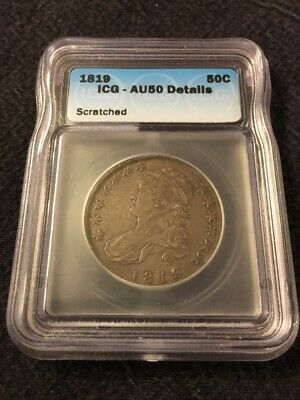 1819 Bust Half Dollar Icg Au-50 Details - Early Date - Certified Slab - 50C