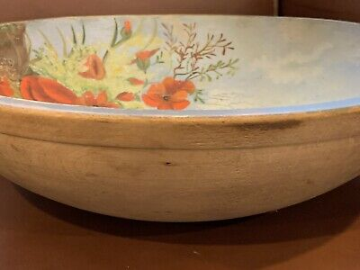Antique Vintage Large Wooden Dough Bowl Hand Turned Painted Flowers
