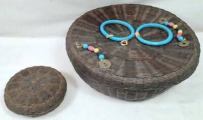 Antique Sewing Box Set Round Wicker with Chinese Trim Items Mini Basket Inside