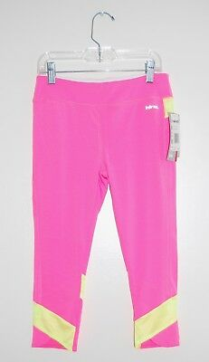 NWT Big Girls HIND Pink with Yellow Cropped Capri Sport Leggings, sz M 10-12