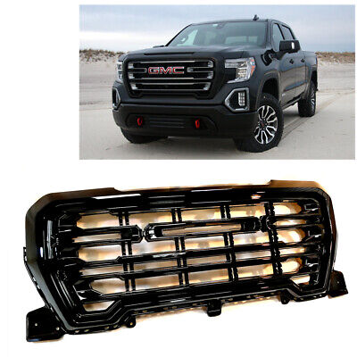 NEW 2019-2020 Glossy Black Front Grill Grille W/Lights Logo For GMC Sierra 1500