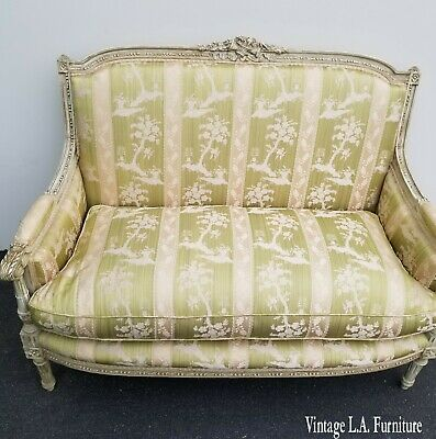 Vintage French Louis XVI Rococo Green Stripped Floral Down Feathers Settee Sofa