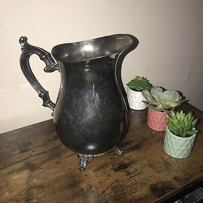 Vintage WM ROGERS #817 Silver Pitcher Antique Water Jug Ornate