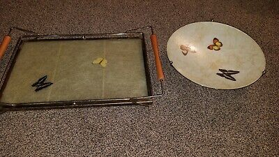 Mid Century Fiberglass Footed Bowl Butterflies & Serving Tray Gold Accents
