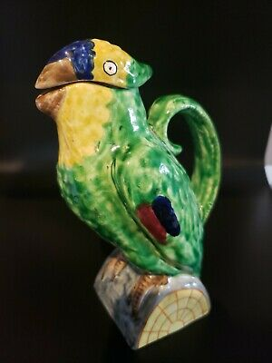 Ceramic Aneglo Minghetti Earthenware Parrot Bottle ~ Made In Bologna Italy
