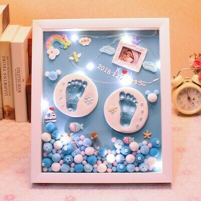 3D Baby Souvenir Set Handprint Footprint Soft Clay Photo Frame Newborn keepsake