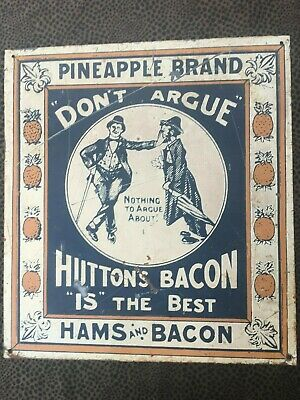 Vintage 'Pineapple Brand Huttons Bacon' Metal Sign ***
