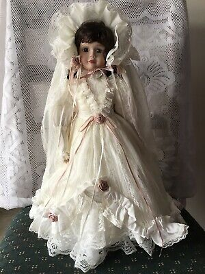 Porcelain Bridal Doll 47cm  Tall Blue Eyes Dk.Brown Hair Excellent Condition