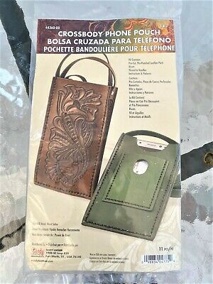 NEW Leather Crossbody Phone Pouch Kit Pre-Cut Pre-Punched Parts & Rivets Tandy