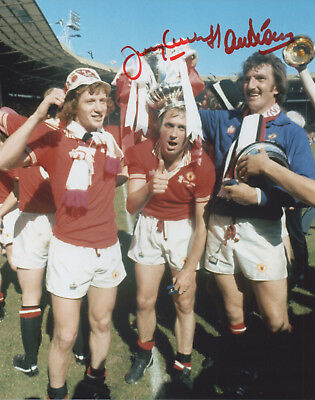 ALEX STEPNEY & J GREENHOFF Signed In Person 10X8 Photo MANCHESTER UTD Proof COA