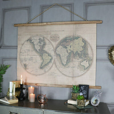 Large wall art mounted canvas world map print double hemisphere gift display