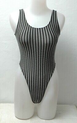 New Black with White Zig Zag Pattern Thong Leotard for Women size 10 Small