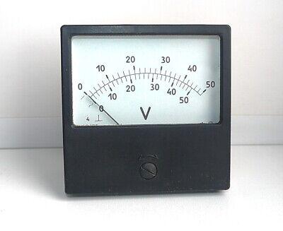 AC / DC 0-50V Analog Dial panel Voltage Gauge Volt meter, 80x80mm, USSR, RARE!