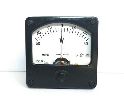 DC 50-0-50V Analog Dial pane Voltage Gauge Volt meter , USSR RARE! Lot of 1 pcs