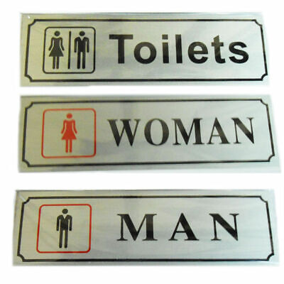 Toilet Door Signs Plaques Ladies Gents Self Adhesive Bathroom WC Walls Stickers