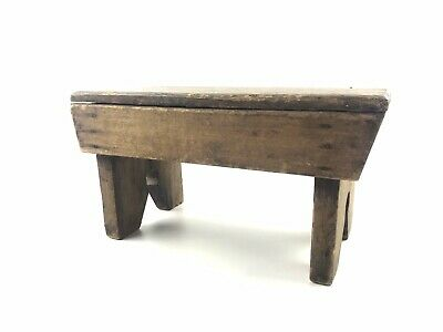 Antique Primitive Cricket Footstool Maine Small Rustic Foot Stool Signed LETI