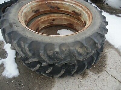 Oliver 77 diesel Farm tractor rear tires & rims 12.4X38 (no fluid in them)