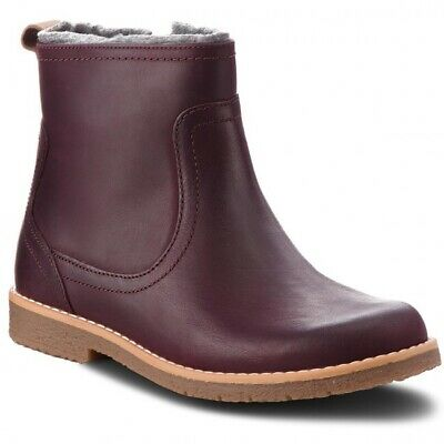 Clarks Girls Comet Frost Jnr Burgundy Leather Ankle Boots UK Size 1 F