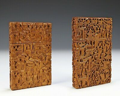 Lot of Two Antique Chinese Carved Sandalwood Card Cases
