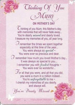 Thinking Of You Mum On Mother's Day Grave side Memorial Card