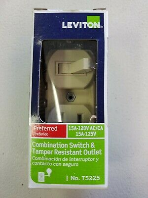 Leviton T5225-IS 15 Amp 120 Volt Toggle Switch and Tamper Resistant Outlet Ivory
