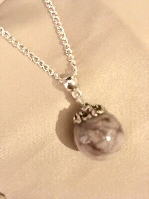 "🇬🇧💜BREAST MILK&HAIR Round Pendant 💜24"" Sterling silver Chain/*see Del Time)"