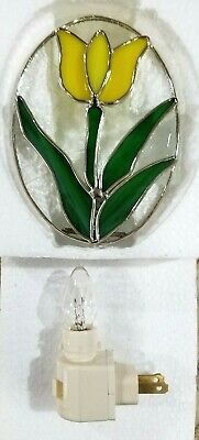 9009-77 Stained Glass Green Clover Night Light New