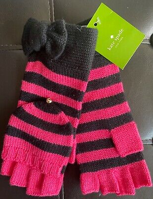 NWT Kate Spade New York Bow Pop Top Mittens Gloves Pink Swirl / Black  o/s
