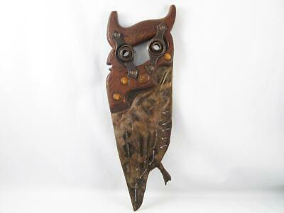 Folk Art Owl Made With Old Hand Saw   Unique Hand Made Wall Decor
