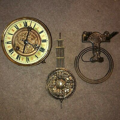 Antique Clock Mechanism Including Face And Pendulum - Unknown Condition