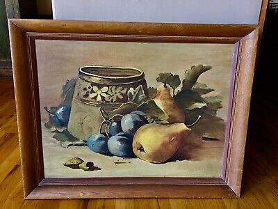 1948 Large Still Life Arts & Crafts Signed Oil Painting