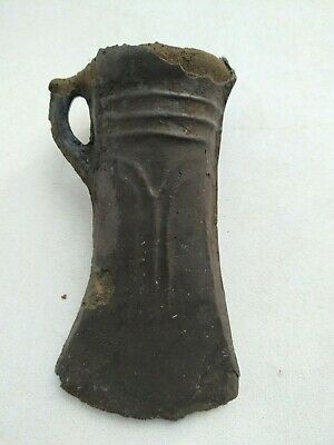 Ancient Bronze Celtic Axe With Ornament