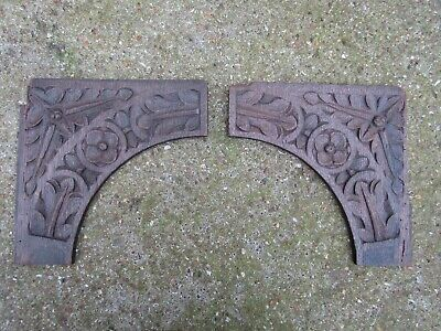 Antique Hand Carved Oak Panels - related wainscoting coffer box church cupboard