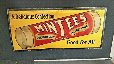 Vintage -Antique Trolley Sign Mintees Candy, A Delicious Confection Good for All