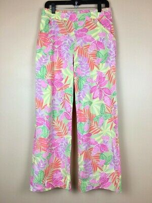 Vintage Lilly Pulitzer Wide Leg High Waist Pants sz 8 in Bottoms Up Frog Print
