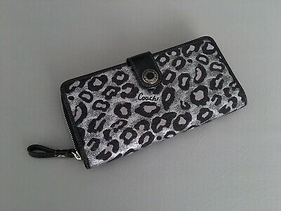 COACH Metallic Gray-Animal Print w/Black Patent Leather Trim Organizer Wallet A+