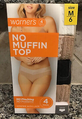 """WARNER'S Panties """" The Lace Hipster"""" 4 Pack  No Pinching-Sz. 6 Med. New In box"""