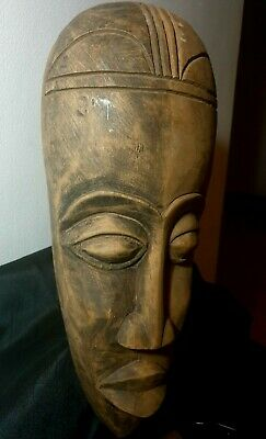 Mask African Carved Wood Tribal Wall Hand Vintage Art Wooden Face Decor 1187