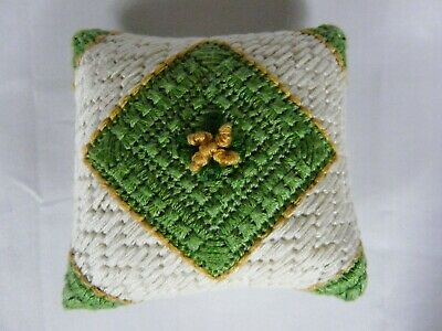 Vintage Needlepoint double sided Pin Cushion Primitive perfect execution  #1