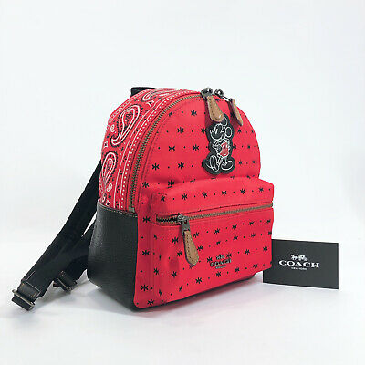 COACH  F59831 Disney Collaboration Mickey Mouse Paisley pattern Backpack ...