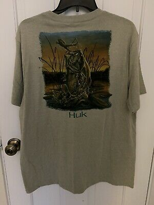 HUK Logo KC Scott Fishing Breathable Jumping Bass S//S T Shirt Choose Size//Color